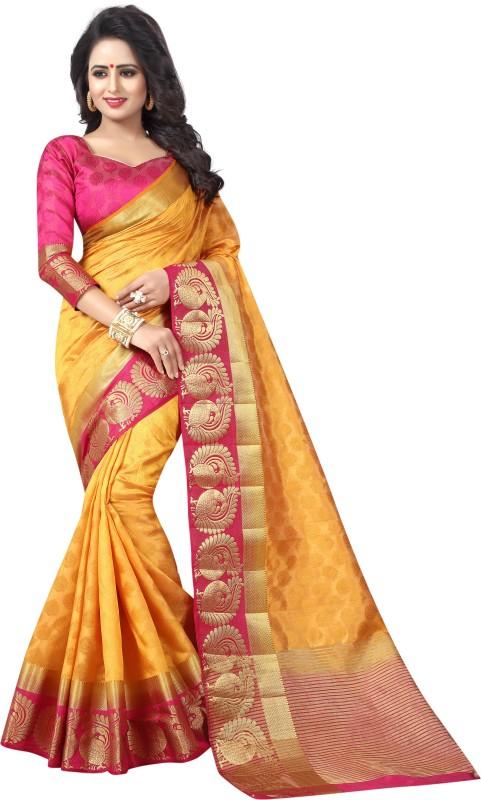 Saarah Self Design Kanjivaram Art Silk Saree(Multicolor)