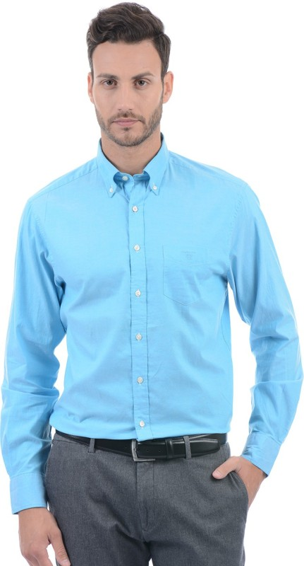 Gant Men Solid Casual Blue Shirt