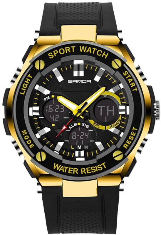 Sanda 0733 Black Gold Analog Digital Dual Display Sport Men's Watch image