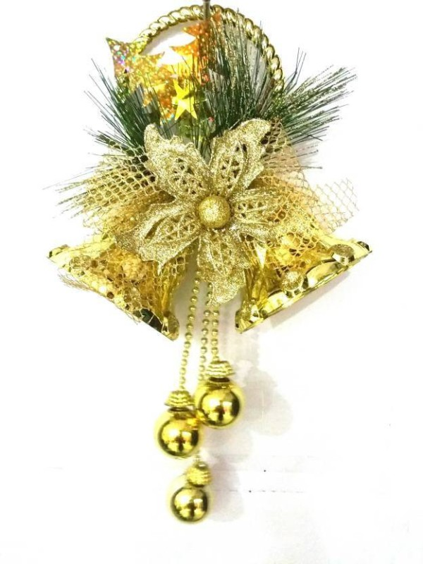 A To Z Traders Christmas Tree Decoration Golden Twins Bells XMAS Decor Ornamental Bells(Pack of 1)