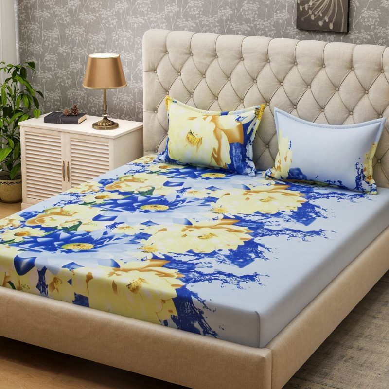 Bombay Dyeing 160 TC Microfiber Double Floral Bedsheet(2 Pillow covers, Blue)