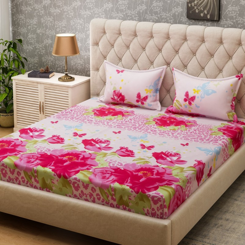 Bombay Dyeing 160 TC Microfiber Double Floral Bedsheet(2 Pillow covers, Pink)