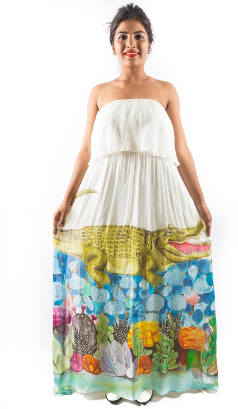 YUGANSATYA Women's Maxi White Dress