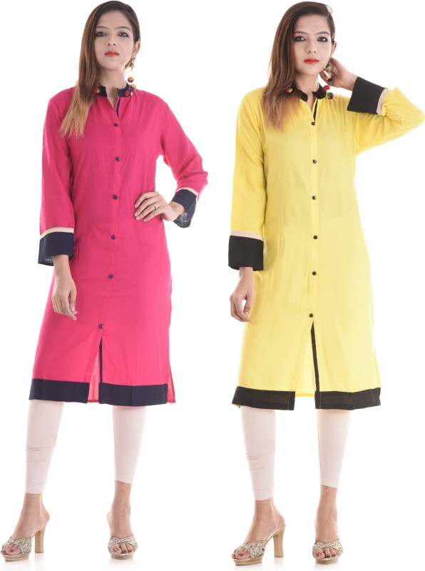TRUEBELLE Casual Solid Women Kurti(Pack of 2, Pink, Yellow)