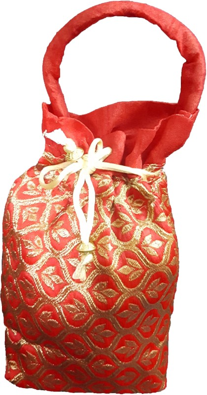 aakaar21 Brocade Designer Golden flower indian potli ethnic drawstring bag for marriage /retuen gift /women bag and other occasion -red colour-20H/15L/7W -SIZE-regular Potli(Red)