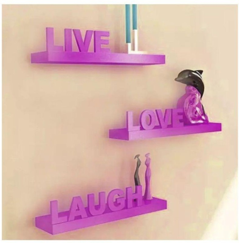 Ruby Perl Handicraft Wall hanging home decor Shelf stand Set Wooden Wall Shelf(Number of Shelves - 3, Purple)