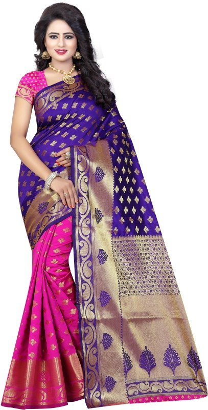 SATYAM WEAVES Self Design Banarasi Silk Saree(Purple)