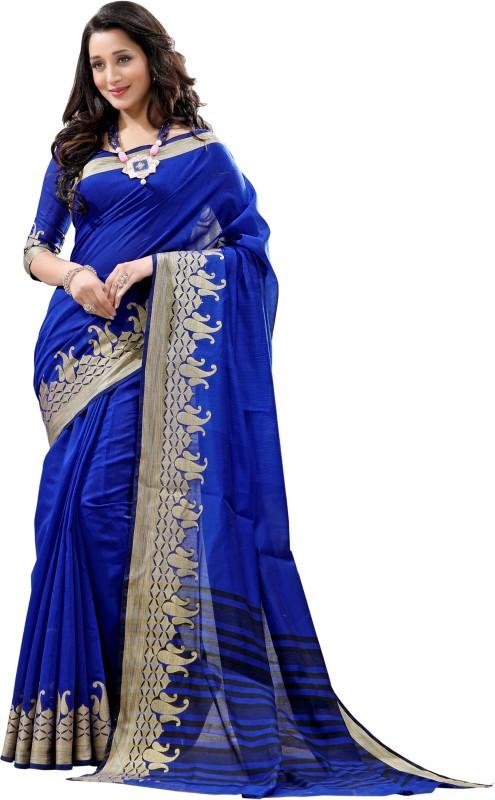 BAPS Embroidered, Woven Bollywood Jacquard, Banarasi Silk Saree(Blue)