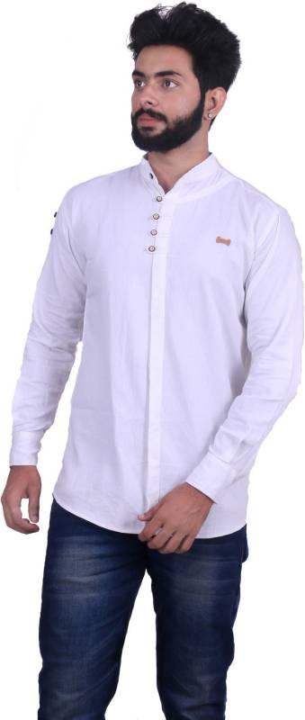 ROSSO FEM Men Solid Casual White Shirt
