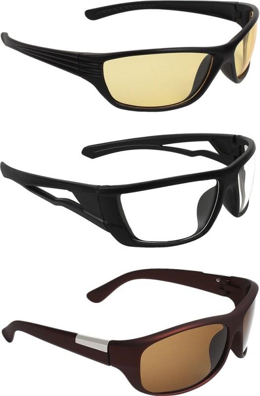 Zyaden Round Sunglasses(Yellow, Clear, Brown)