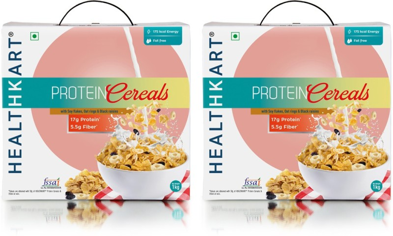 Healthkart Breakfast Cereal, with high Protein, Oats, Soy flakes & Black Raisins (1 Kg)-Pack of 2(1 kg, Box, Pack of 2)