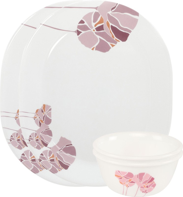 CORELLE Pink Lotus Pack of 4 Dinner Set(Glass)