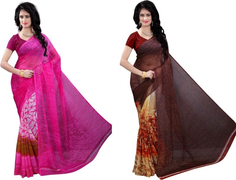 Vimalnath Synthetics Floral Print Fashion Chiffon Saree(Pack of 2, Multicolor)