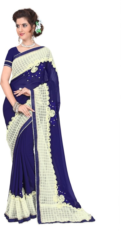 Active Self Design Fashion Georgette Saree(Blue)