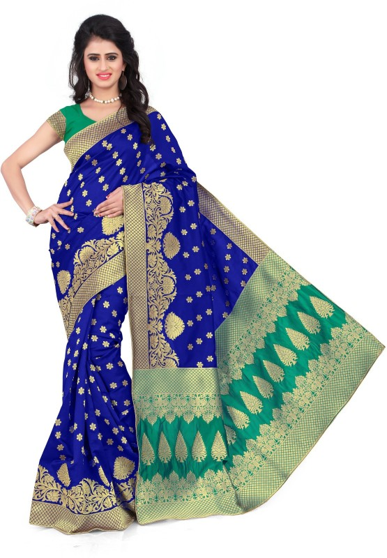 SNH Export Solid Bollywood Jacquard Saree(Blue)