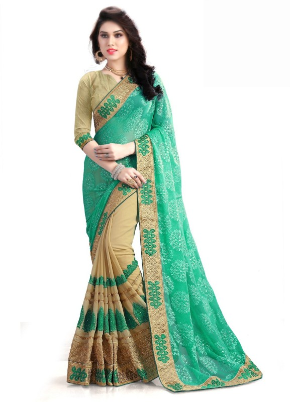 RJB Embroidered Bollywood Georgette Saree(Multicolor)