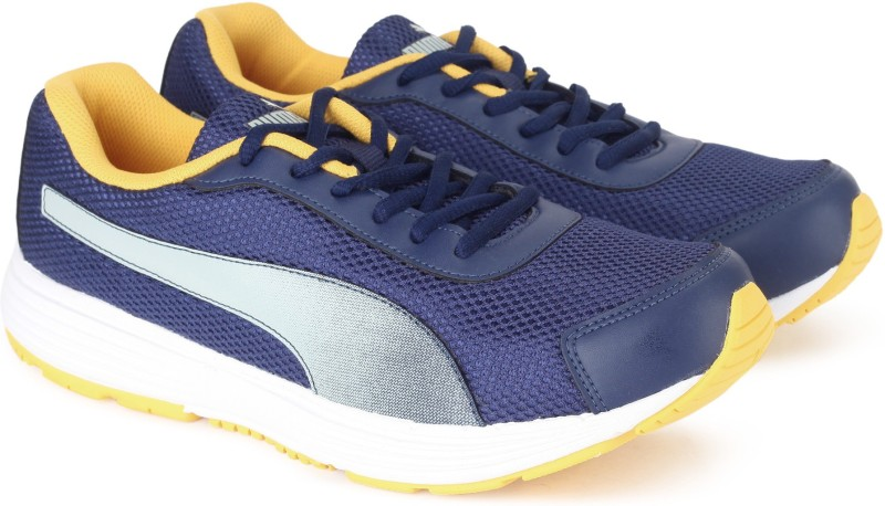 Puma Aeden Running Shoes For Men(Yellow, Navy)