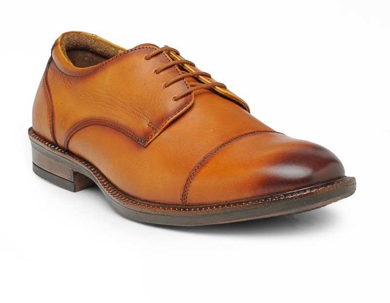 Teakwood leather shoes Lace Up For Men(Tan)