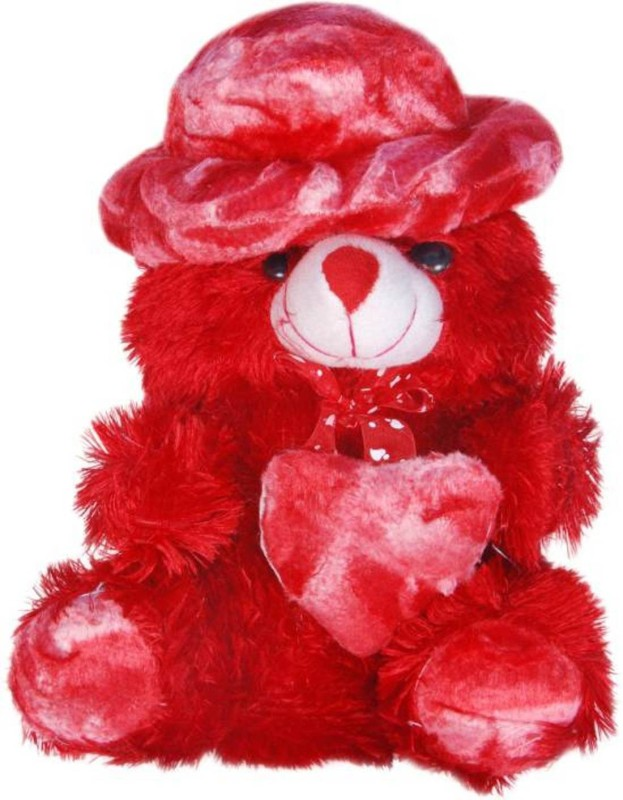 AVS Stuffed Spongy Hugable Cute Cap Teddy Bear - 30 cm(Red)