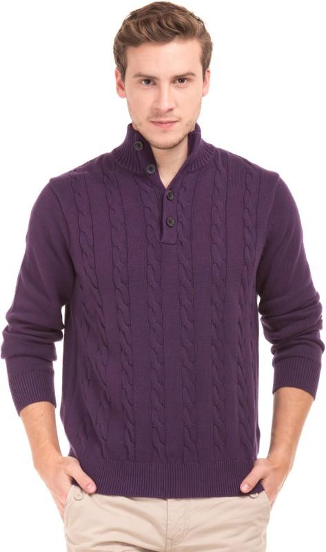 Nautica Woven Turtle Neck Casual Mens Purple Sweater