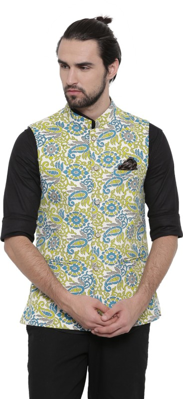 Showoff Sleeveless Printed Men Linen Jacket