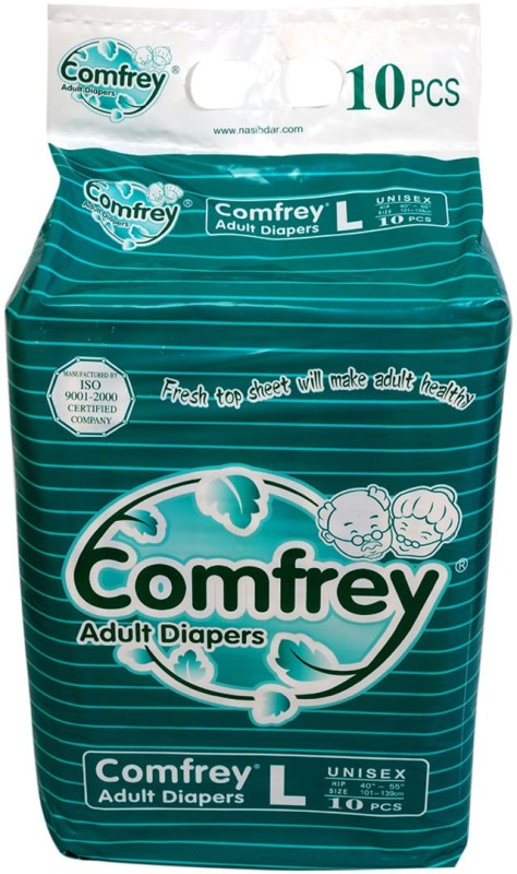 Comfrey FOR WAIST SIZE 40-55 INCHES Adult Diapers - L(10 Pieces)