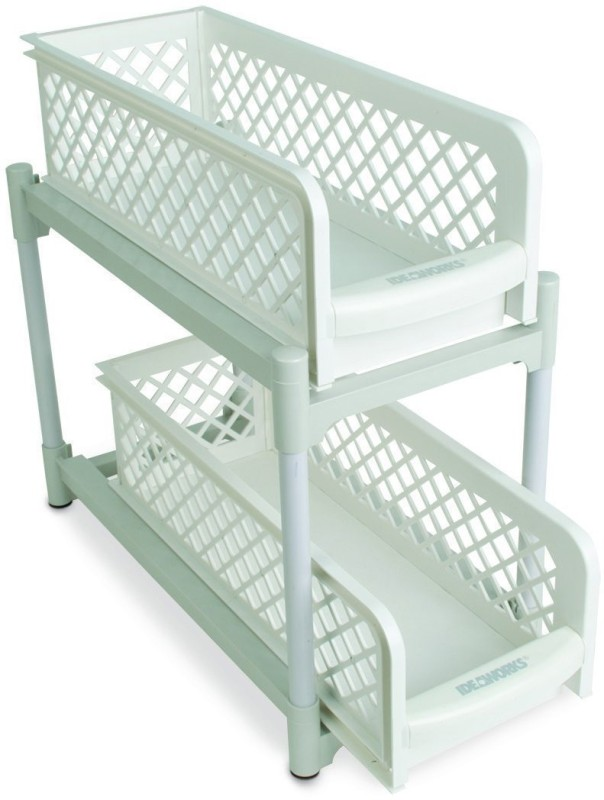 Trendy Portable 2-Tier Basket Drawer for Organizing Bathroom Cosmetic Products and also used as Kitchen basket Plastic Kitchen Rack(White)