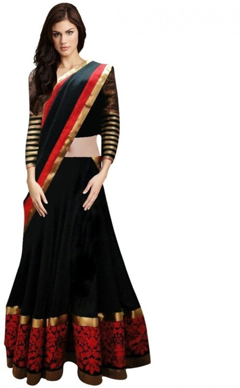 PURVA ART Embroidered Semi Stitched Lehenga, Choli and Dupatta Set(Black)