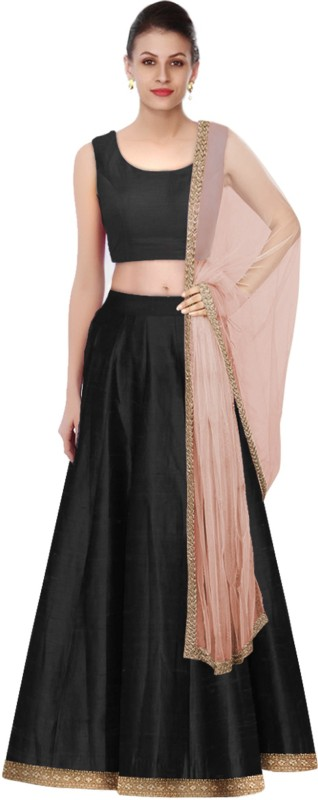 Fabron Solid Black Taffeta silk stitched lehenga choli & dupatta set