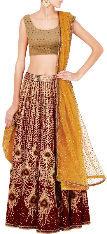 Fabron Embroidered Maroon and Yellow peacock artwork lehenga set with yellow glitter...