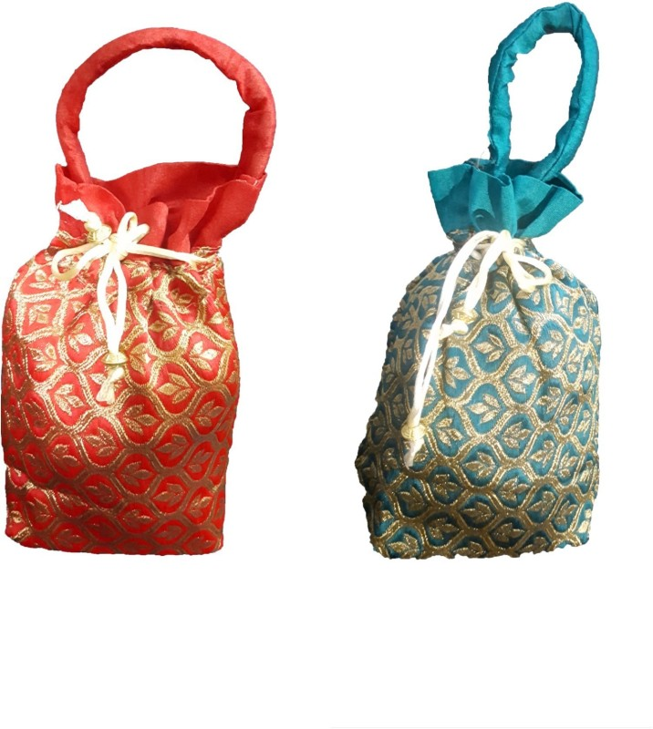 aakaar21 Brocade Designer combo Golden flower indian potli ethnic drawstring bag for marriage /retuen gift /women bag and other occasion -green and red colour-20H/15L/7W SIZE-regular Potli(Tan, Red, Green)
