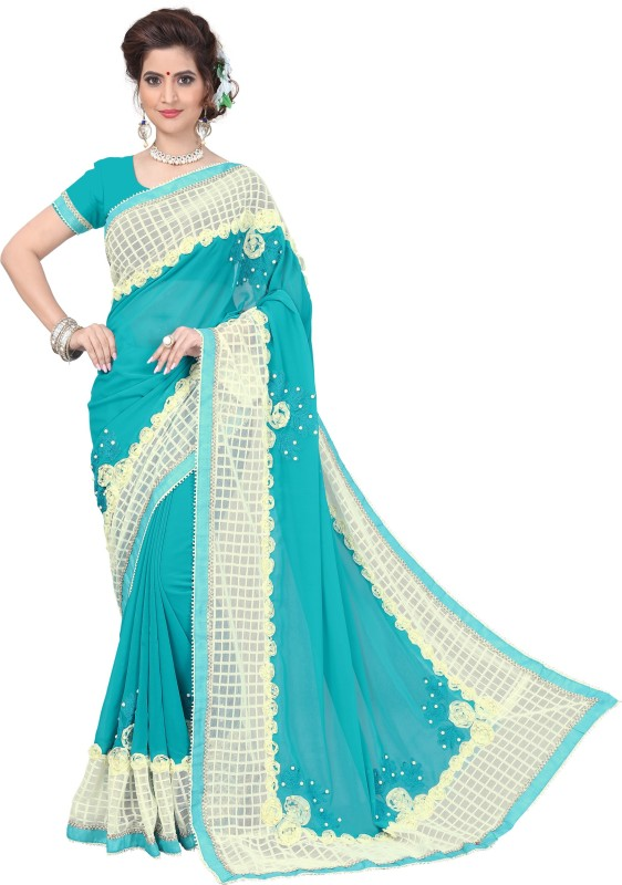 Active Self Design Fashion Georgette Saree(Light Blue)