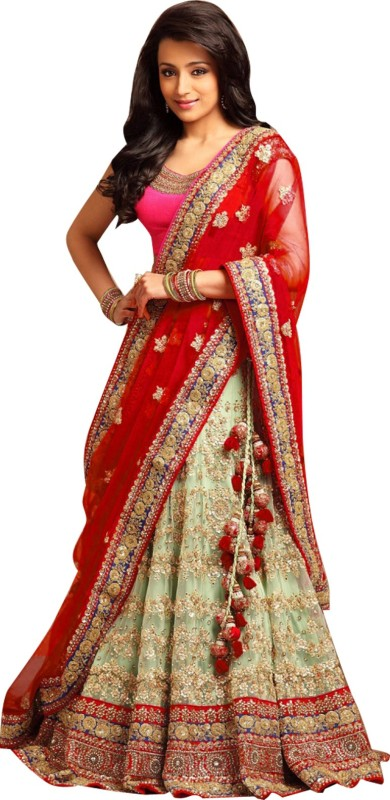 Magneitta Embroidered Bollywood Net Saree(Red)