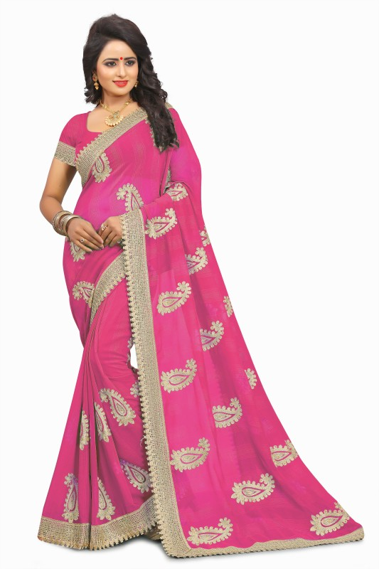 M.S.Retail Embroidered Bollywood Chiffon Saree(Pink, Gold)