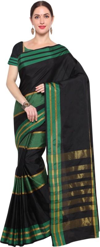 Saara Striped Daily Wear Kota Silk Saree(Black)