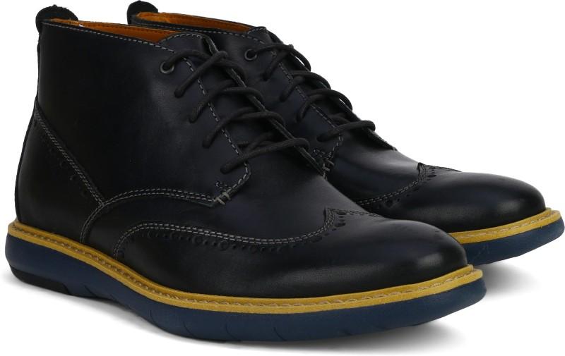 Clarks Flexton Mid Black Leather Boots For Men(Black)