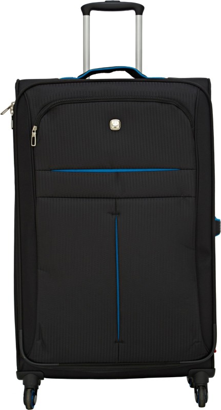 Swiss Gear 28 SPINNER/BLACK/TURQUOISE Expandable Check-in Luggage - 28 inch(Black)