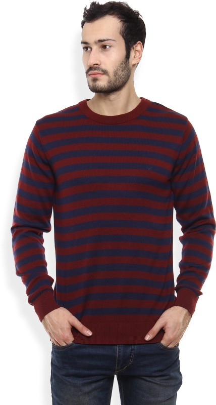 Allen Solly Striped Round Neck Casual Mens Blue, Maroon Sweater