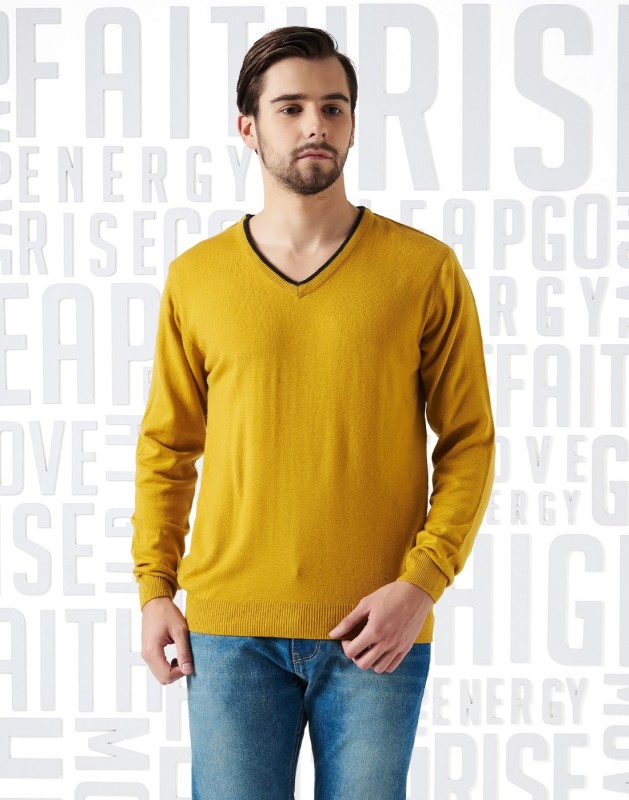 Metronaut Solid V-neck Casual Men's Yellow Sweater