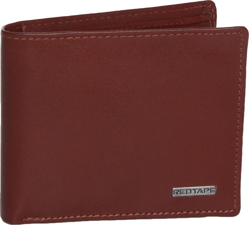 Red Tape Men Brown Genuine Leather Wallet(3 Card Slots)