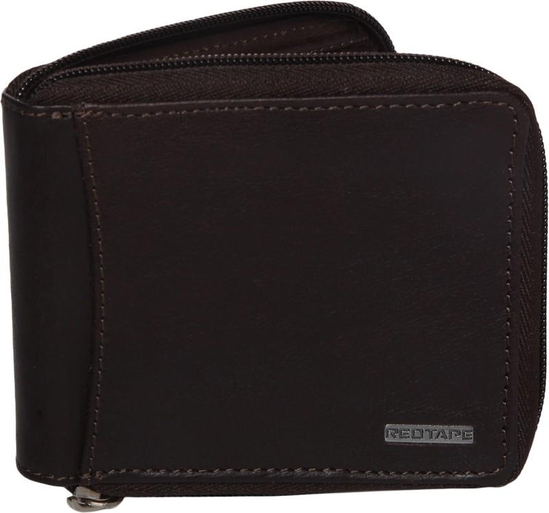 Red Tape Men Brown Genuine Leather Wallet(8 Card Slots)
