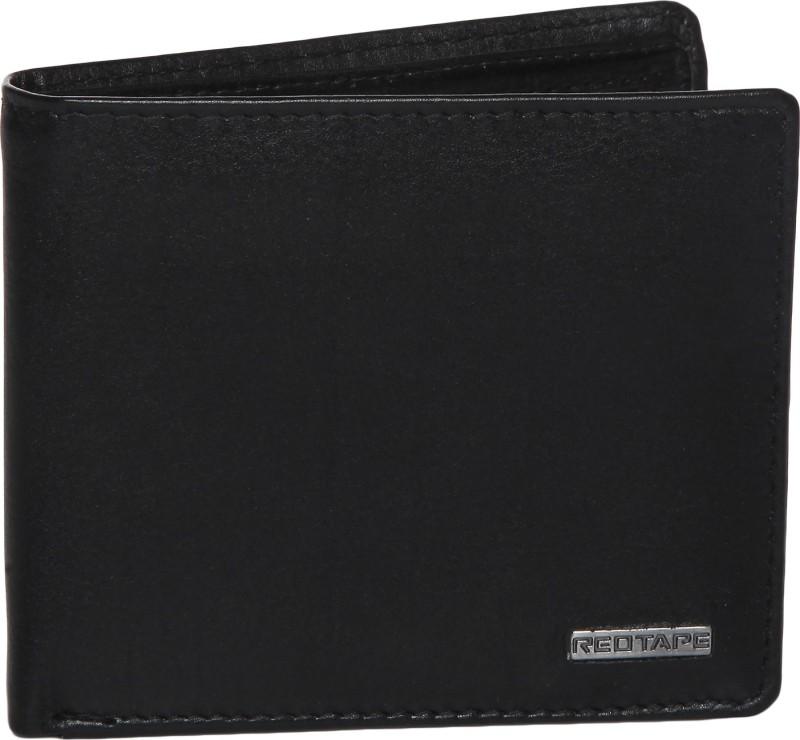 Red Tape Men Black Genuine Leather Wallet(4 Card Slots)