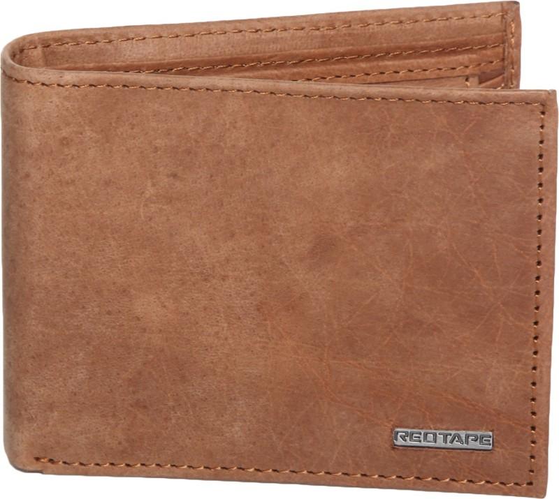 Red Tape Men Beige Genuine Leather Wallet(3 Card Slots)