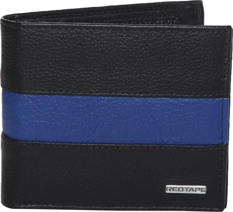 Red Tape Men Black Genuine Leather Wallet(6 Card Slots)