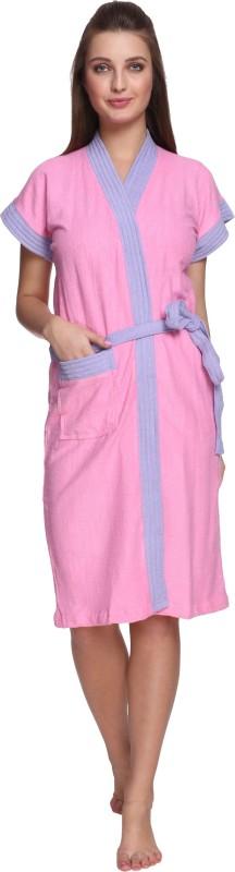 Vixenwrap Baby Pink Free Size Bath Robe(1 Bath Robe, 1 Belt, For: Men & Women, Baby Pink)