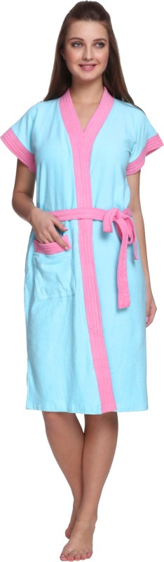 Vixenwrap Sky Blue Free Size Bath Robe(1 Bath Robe, 1 Belt, For: Men & Women, Sky Blue)