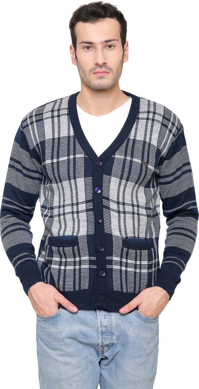 ManHood Mens Button Checkered Cardigan