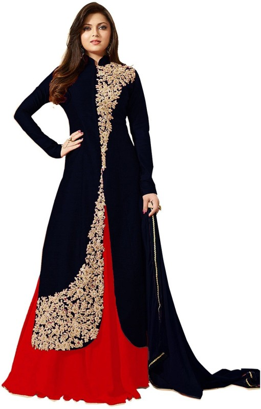 AnK Poly Silk Embroidered Salwar Suit Dupatta Material(Un-stitched)