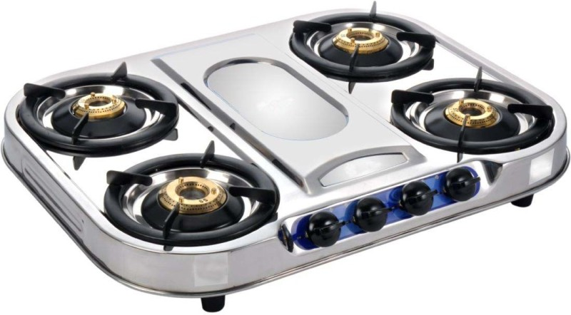 Suraksha Shine Smart Plus 4 Tri Pin Brass Burner Cooktop With Stainless Steel Gas Stove Steel Manual Gas Stove(4 Burners)