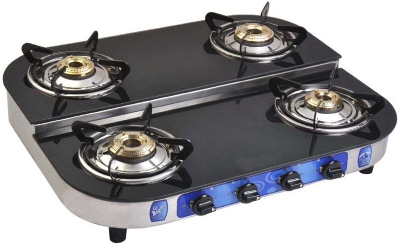 Suraksha Shine Crystal Bose Three Tri Pin Brass Burner Cooktop Glass Top With Stainless Steel Highly Efficiency L.P Gas Stove Steel Manual Gas Stove(4 Burners)